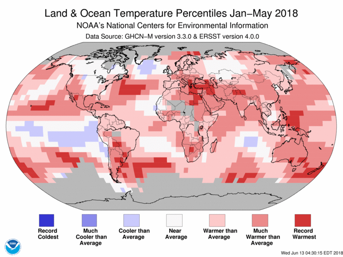 Map of global temperature percentiles for January to May 2018