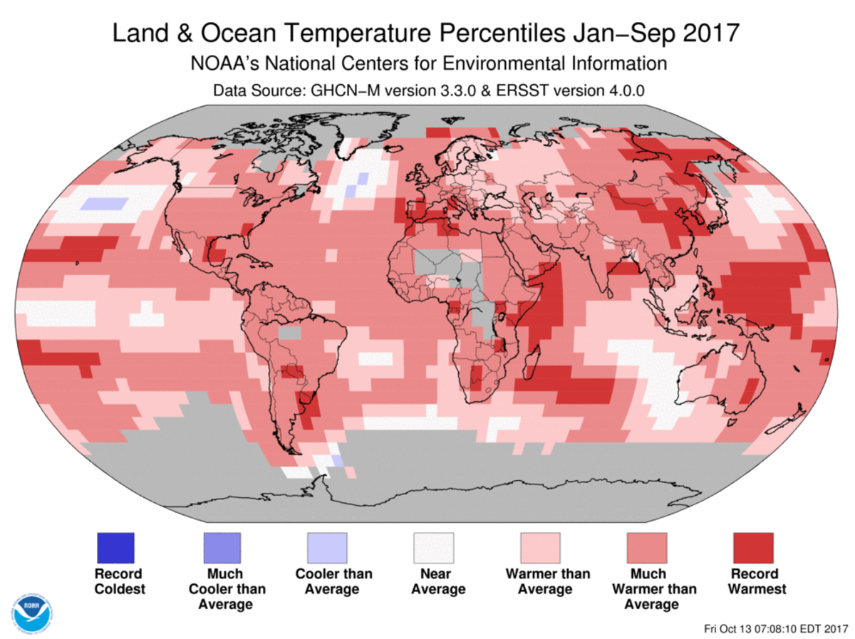Map of global temperature percentiles for January to September 2017