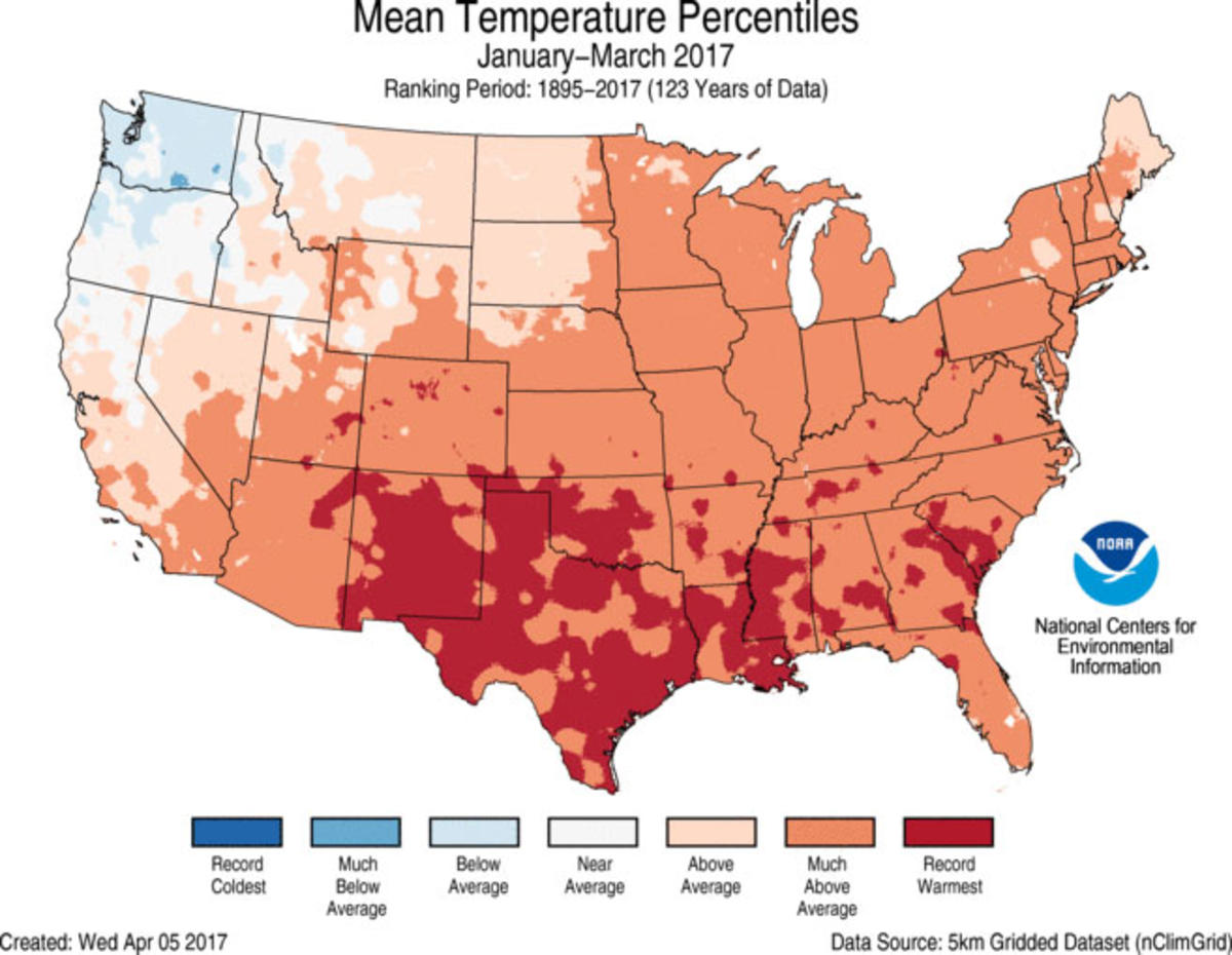 Map of January to March 2017 U.S. average temperature percentiles