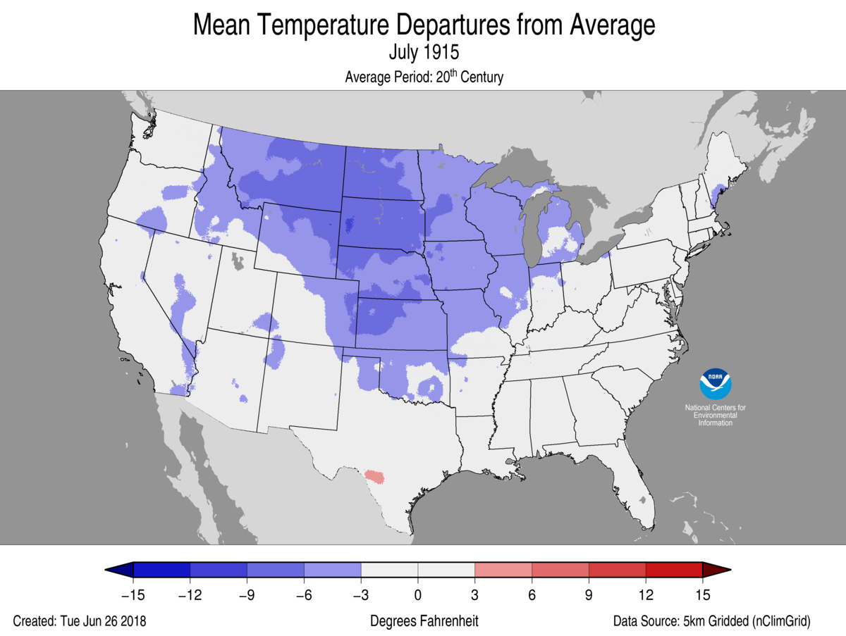 Map of July 1915 U.S. average temperature departures from average