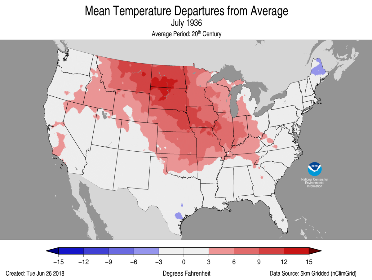 Map of July 1936 U.S. average temperature departures from average