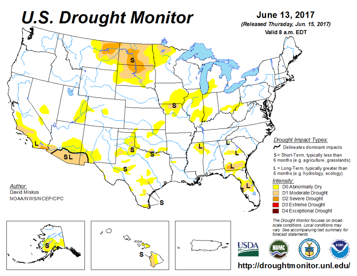 Map of U.S. drought conditions for June 13, 2017