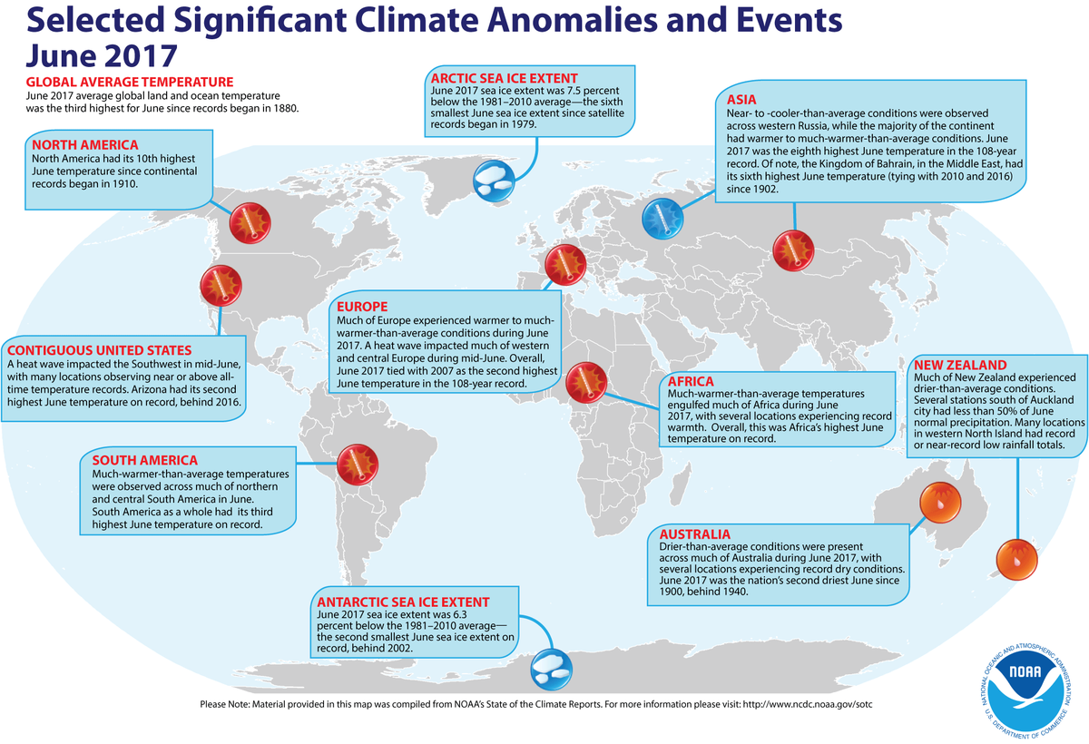 Map of global selected significant climate anomalies and events for June 2017