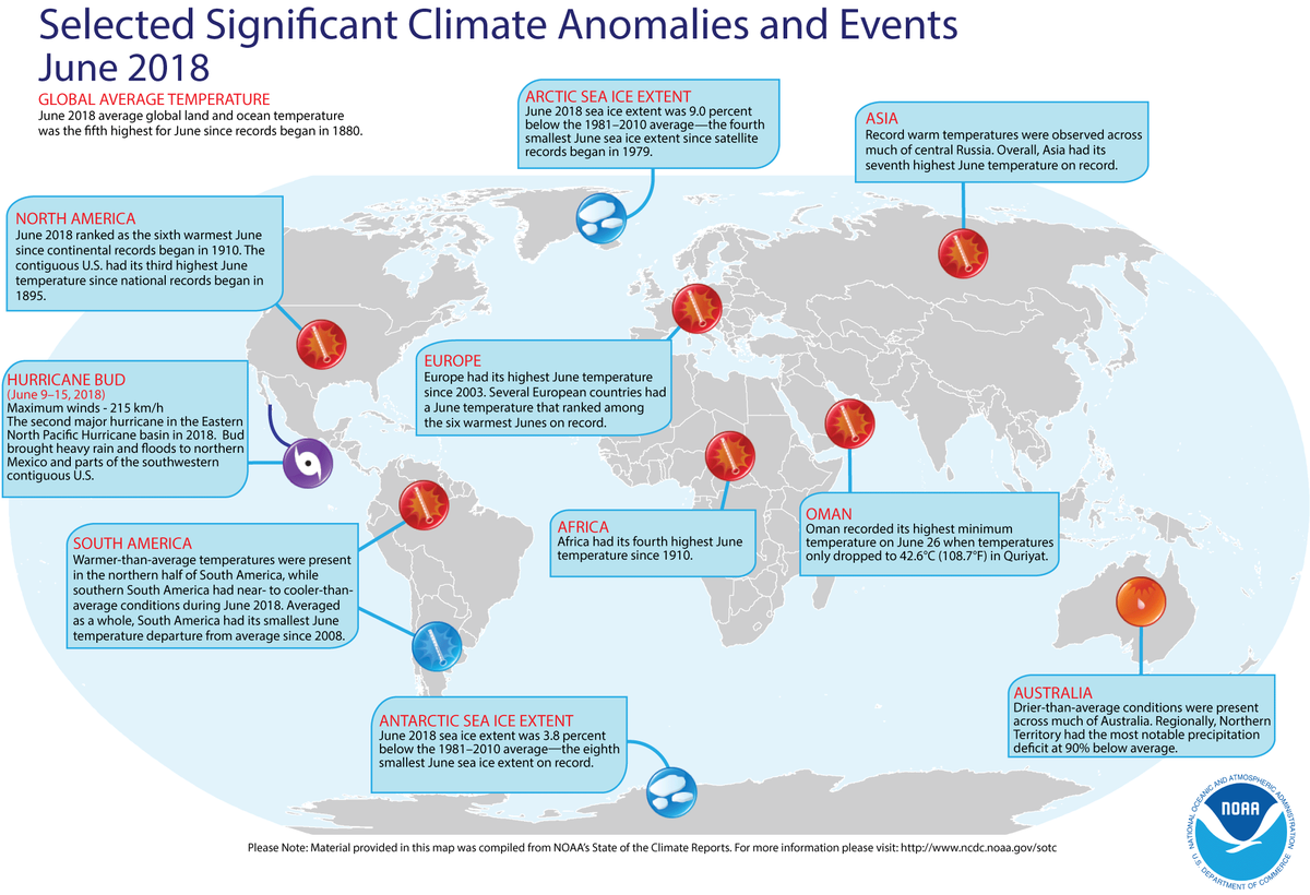 Map of global selected significant climate anomalies and events for June 2018