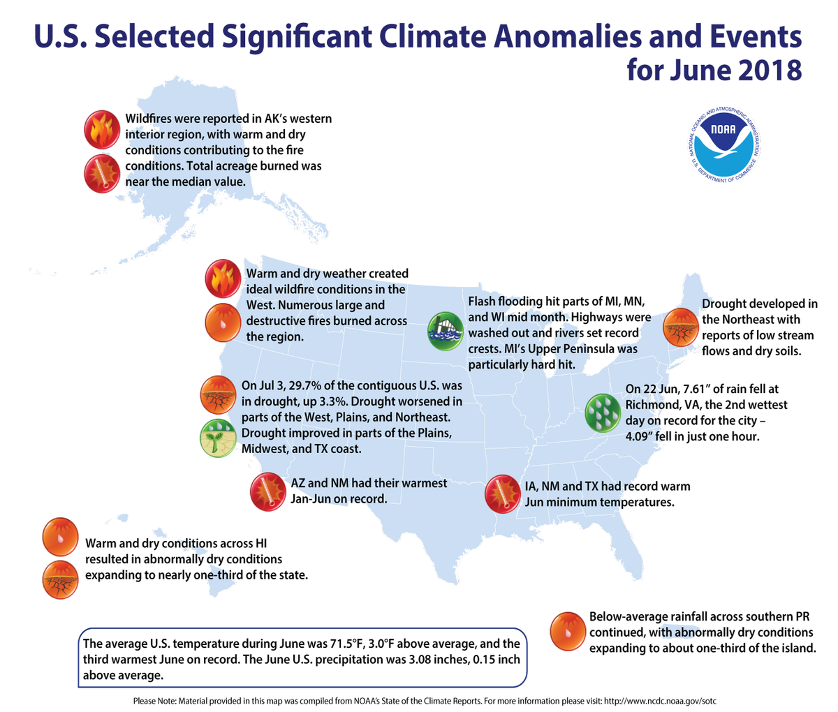 Map of U.S. selected significant climate anomalies and events for June 2018