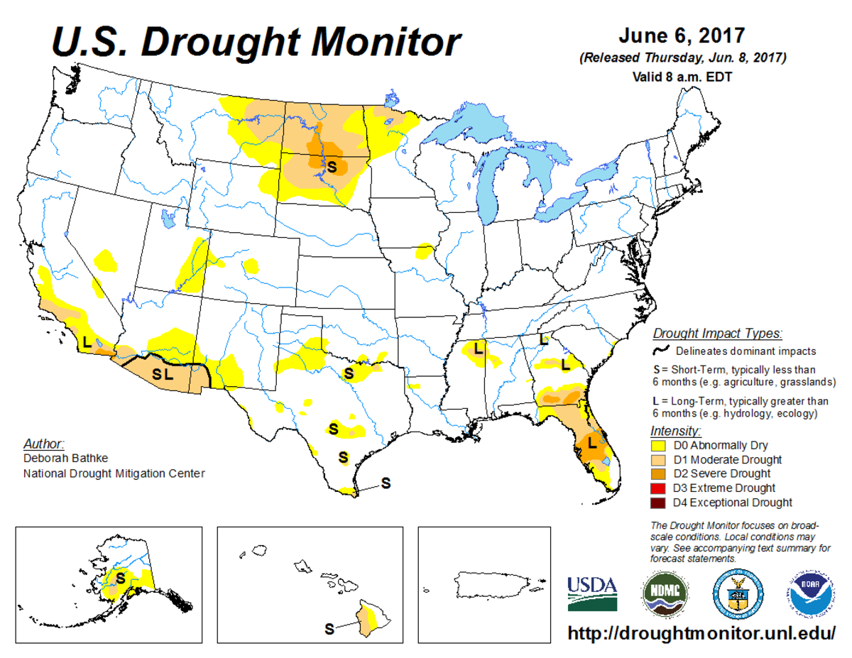 Map of U.S. drought conditions for June 6, 2017