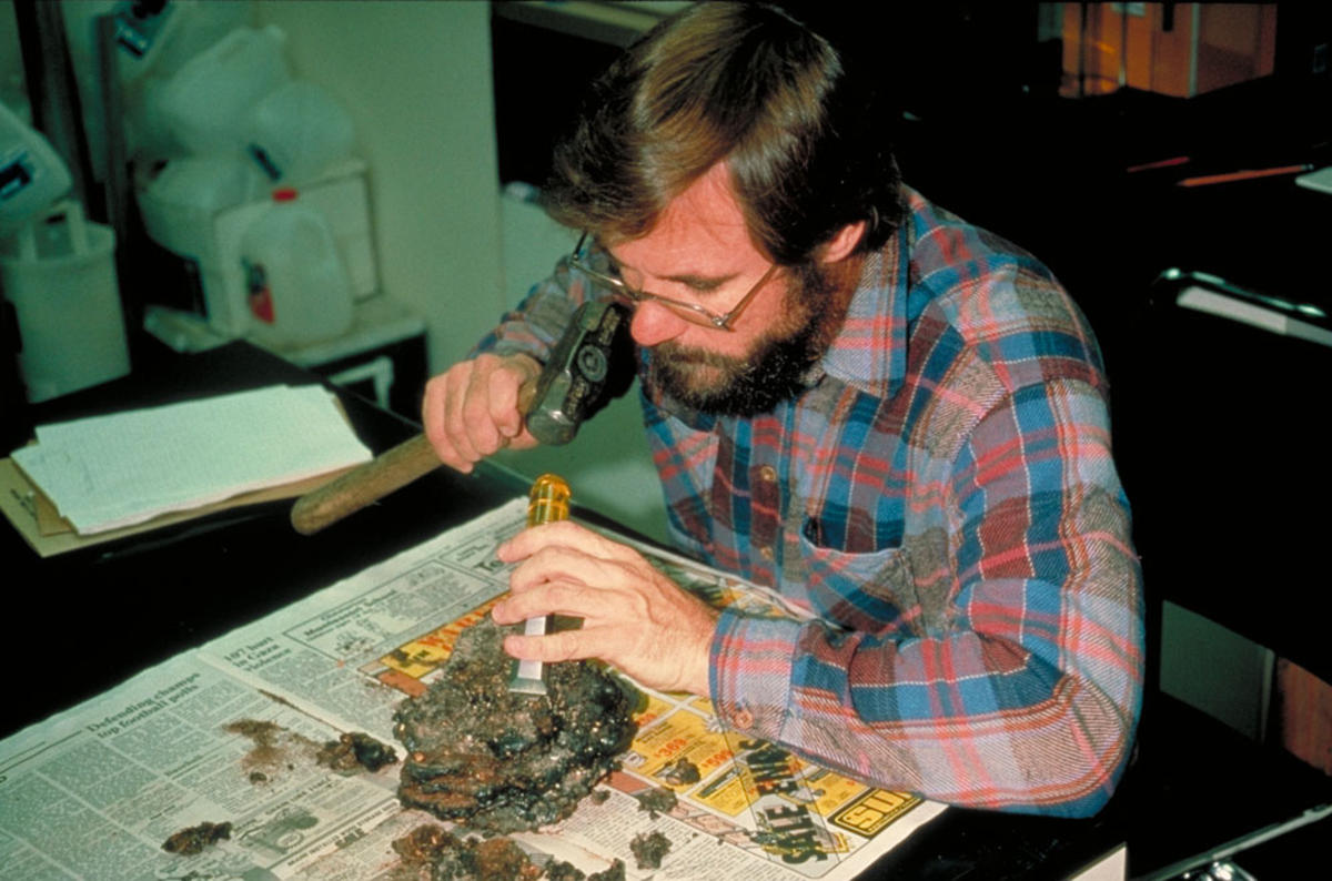 Photo of a scientist preparing a midden sample for analysis in the laboratory