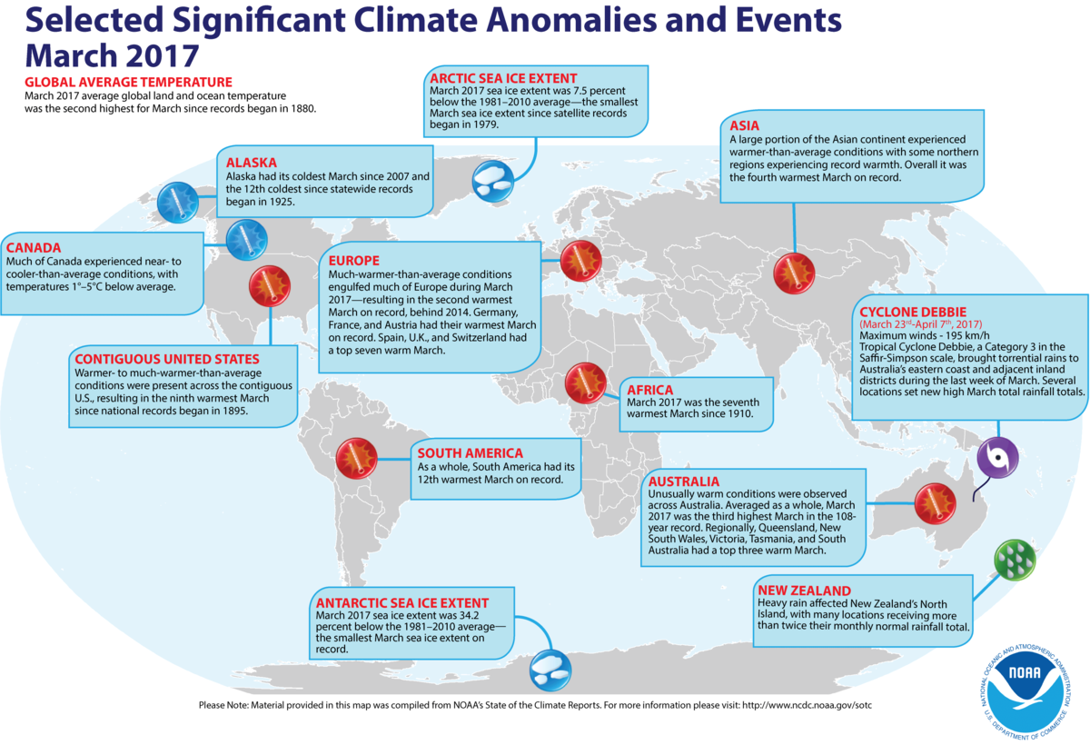 Map of global selected significant climate anomalies and events for March 2017