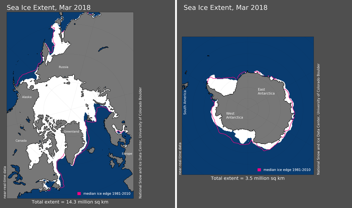 Maps of Arctic and Antarctic sea ice extent in March 2018