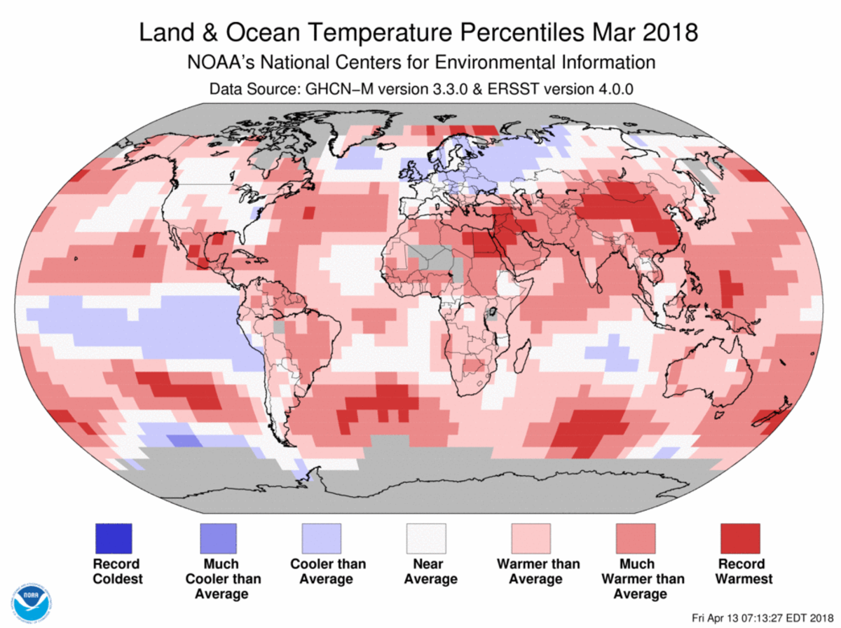 Map of global temperature percentiles for March 2018