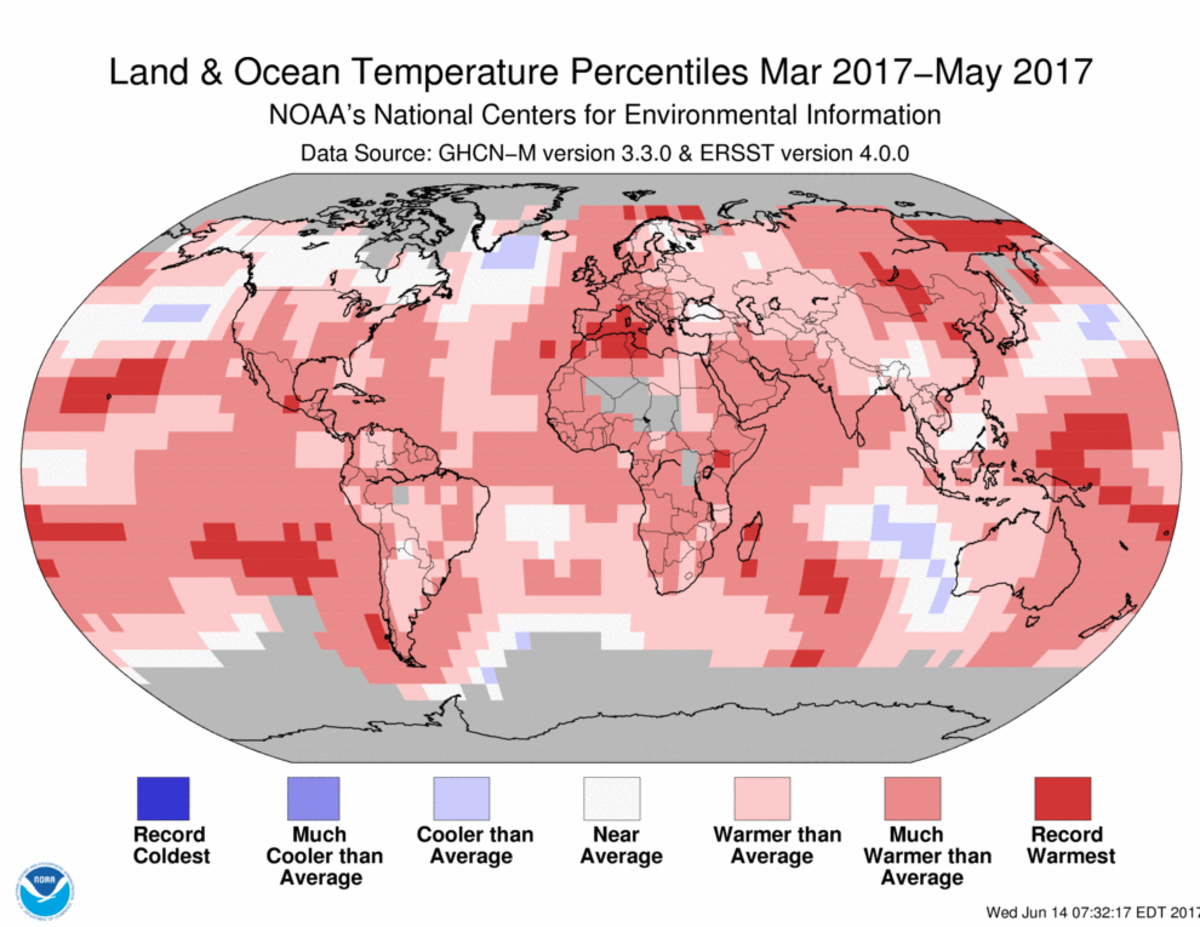 Map of global temperature percentiles for March to May 2017