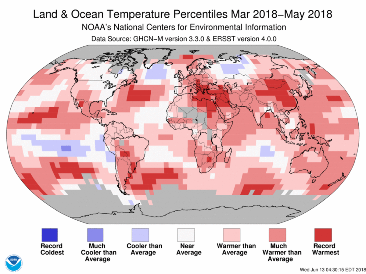Map of global temperature percentiles for March to May 2018