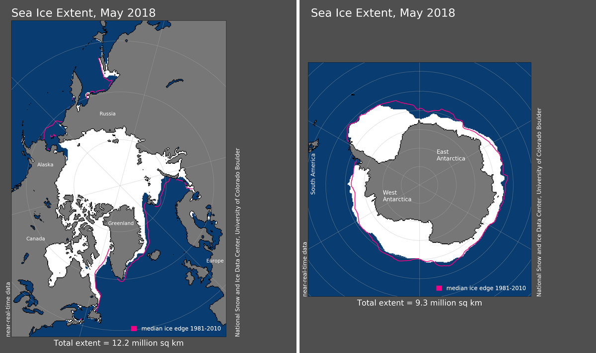 Maps of Arctic and Antarctic sea ice extent in May 2018