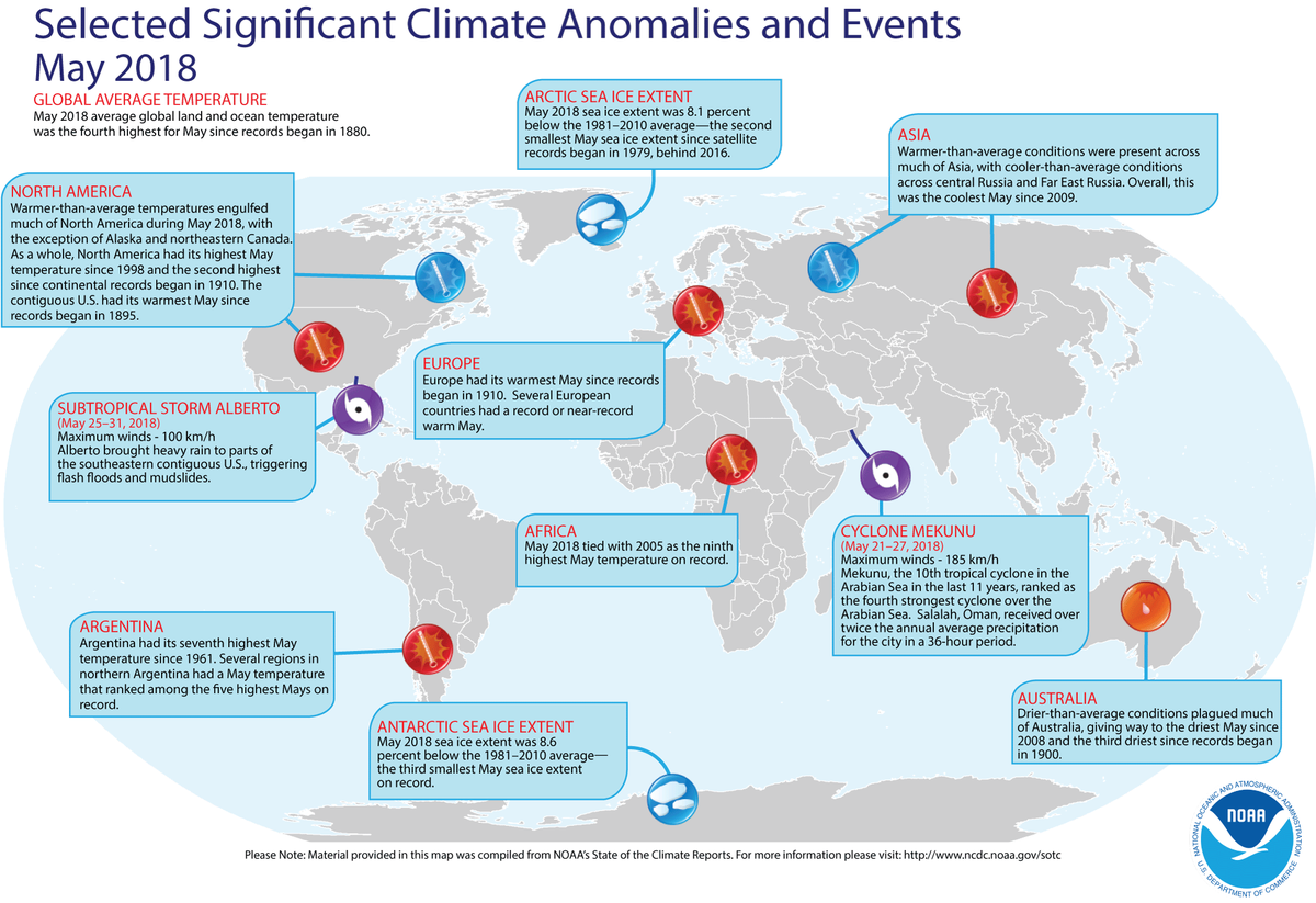 Map of global selected significant climate anomalies and events for May 2018