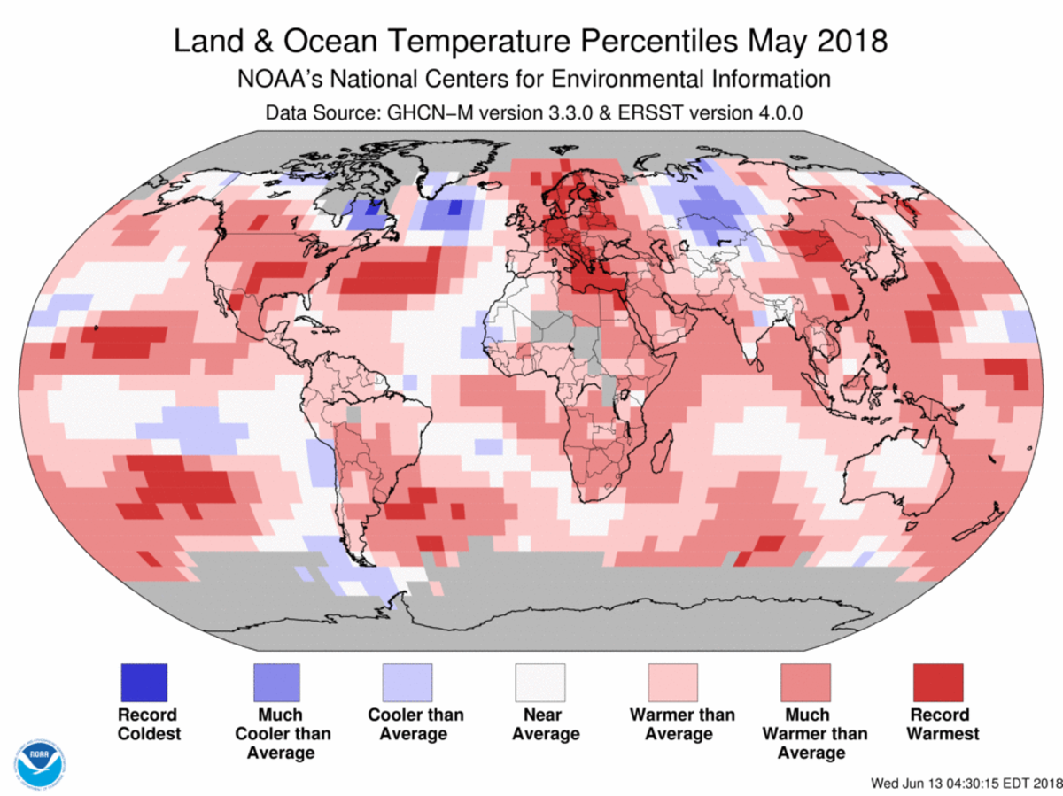 Map of global temperature percentiles for May 2018