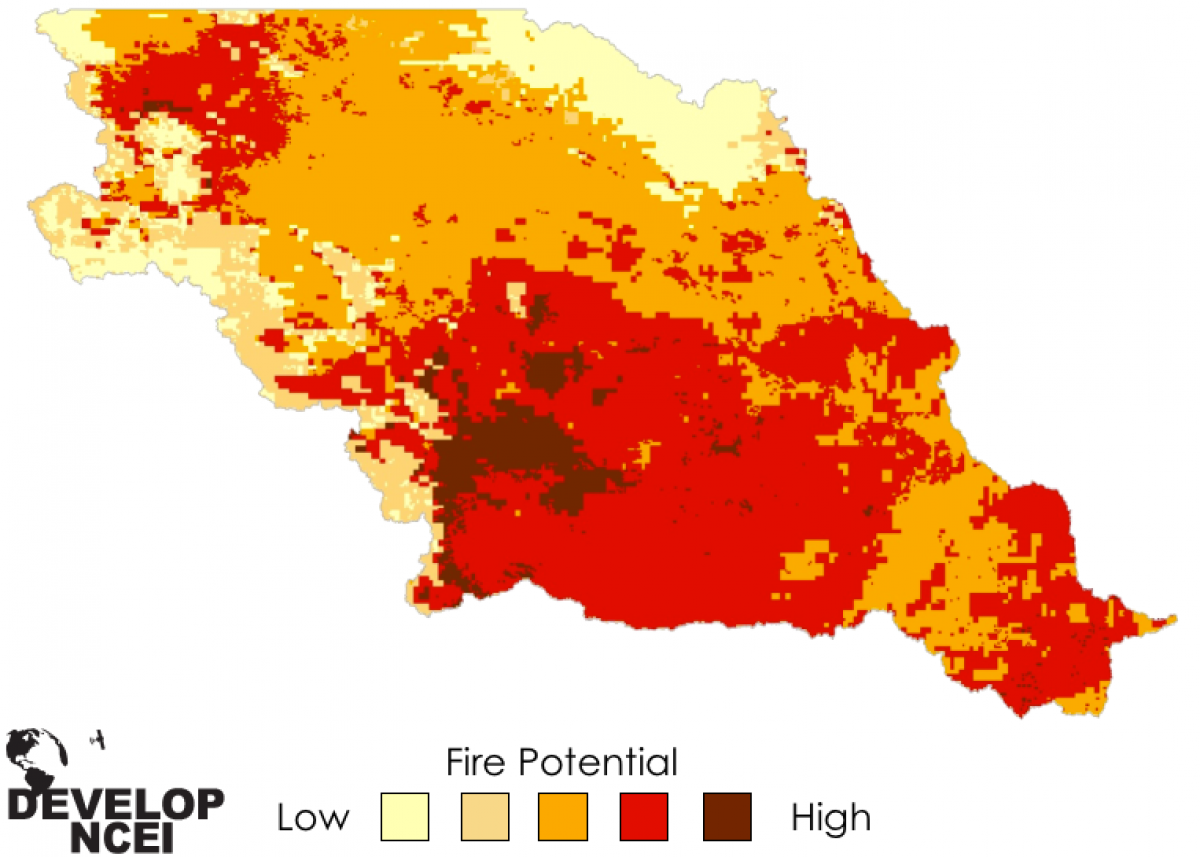 Map of fire potential in the Missouri River Basin