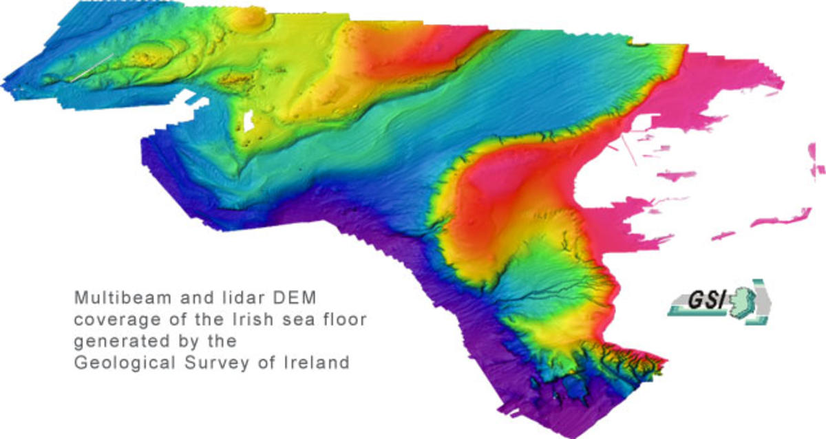 Multibeam bathymetry image of the Irish Sea