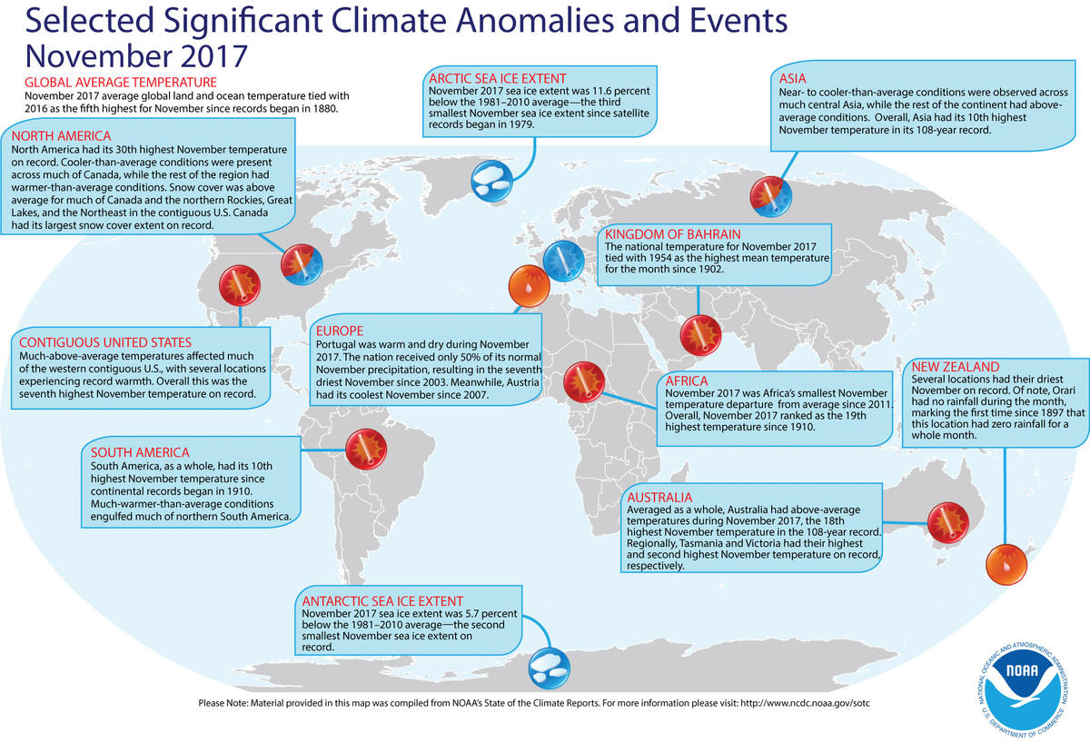 Map of global selected significant climate anomalies and events for November 2017