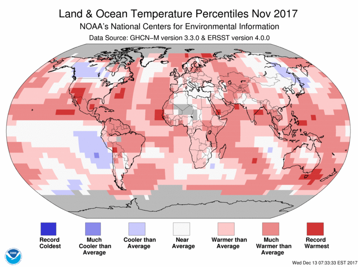 Map of global temperature percentiles for November 2017