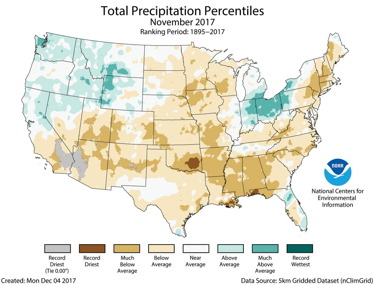 Map of November 2017 U.S. total precipitation percentiles