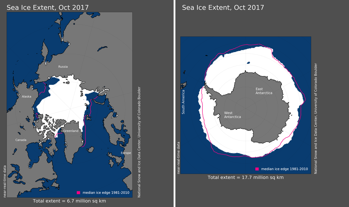 Maps of Arctic and Antarctic sea ice extent in October 2017