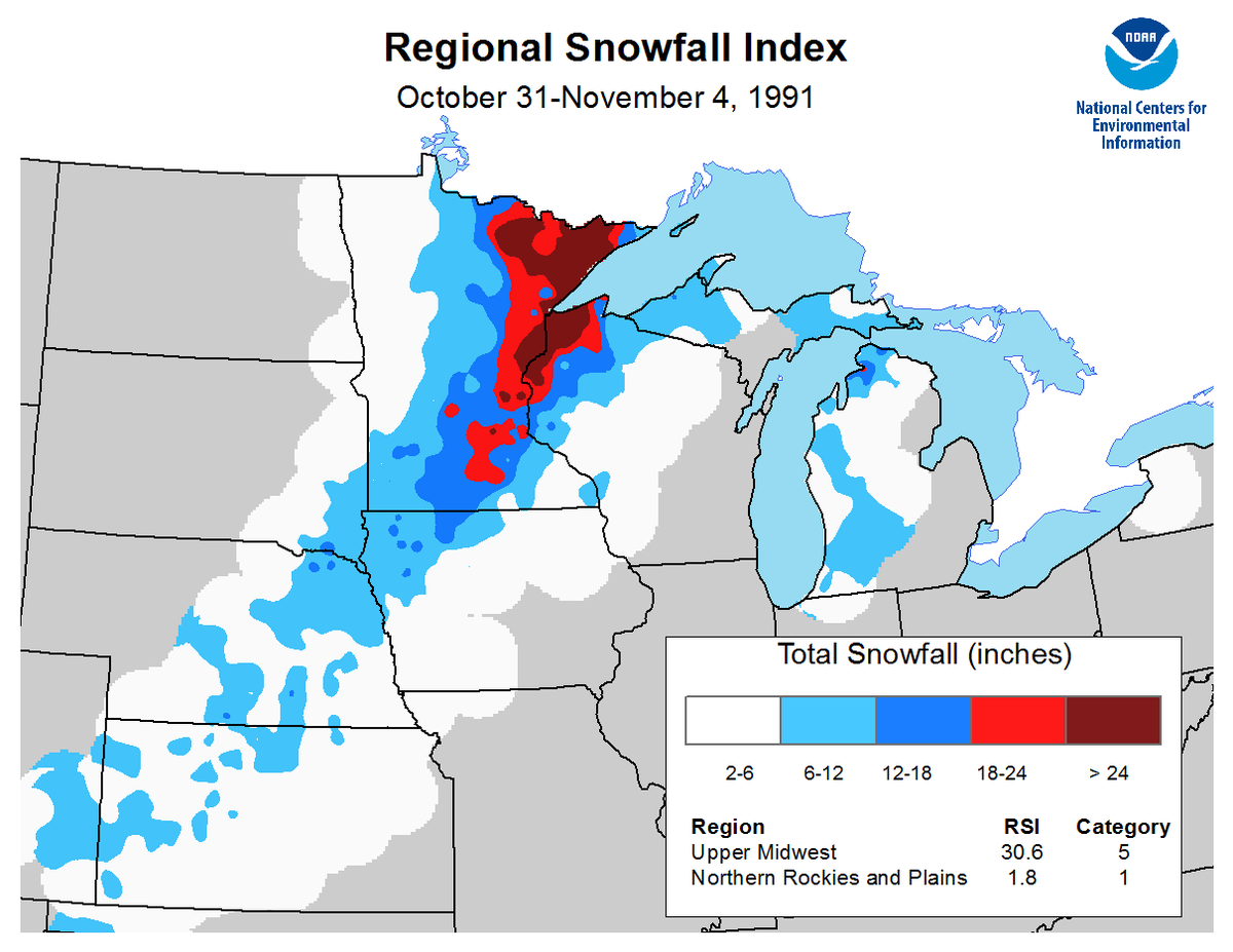 Map of October 31 to November 4, 1991, snowfall totals from the Regional Snowfall Index