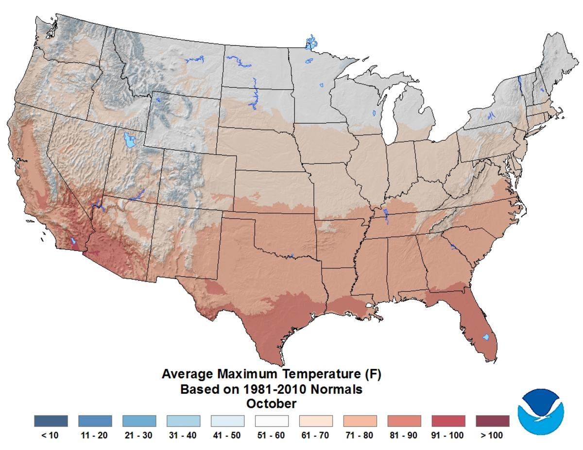 Map of October U.S. average maximum temperature based on 1981–2010 Climate Normals