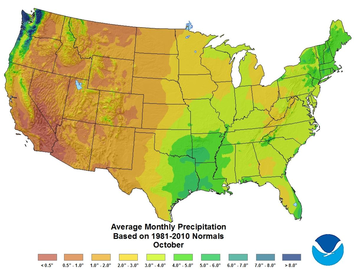 Map of October U.S. average monthly precipitation based on 1981–2010 Climate Normals