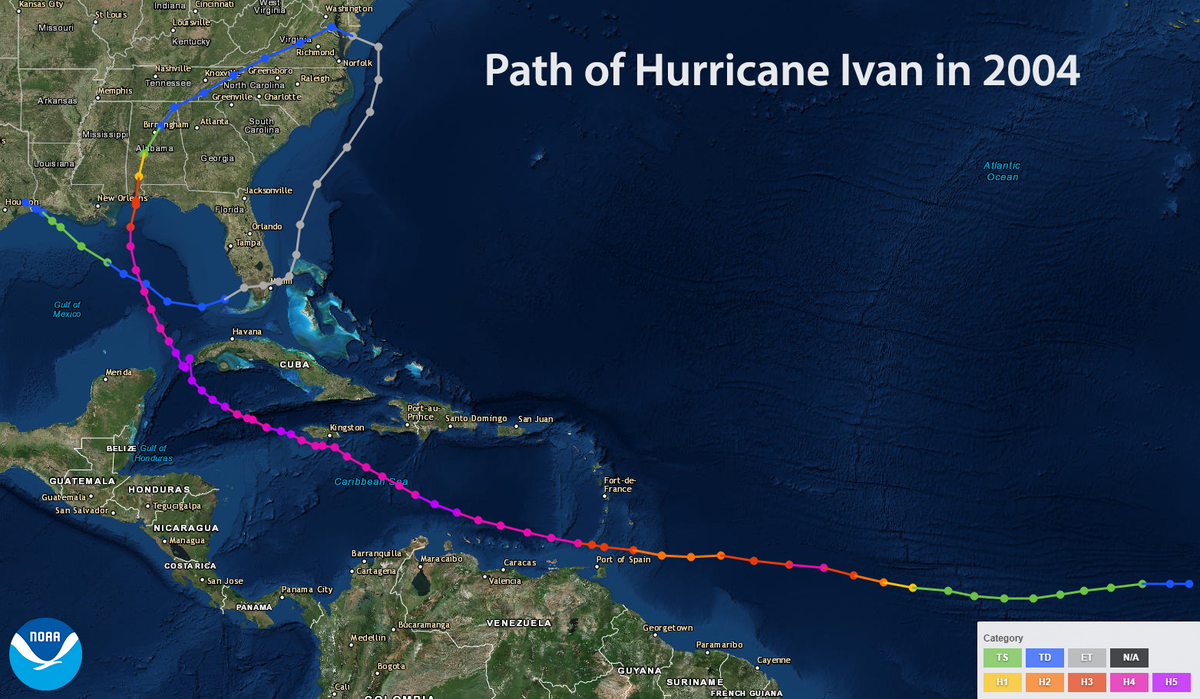 Map of the path of Hurricane Ivan in 2004
