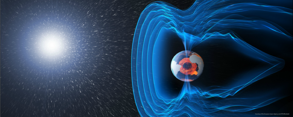 Rendering of Earth's core and magnetic field. Credit ESA, ATG/Medialab.