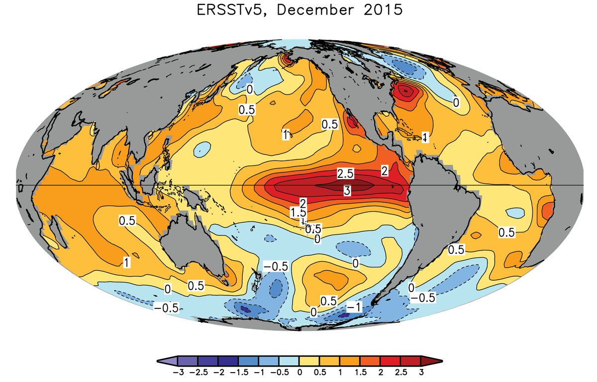 Map of sea surface temperature anomalies from ERSSTv5, Dec 2015.