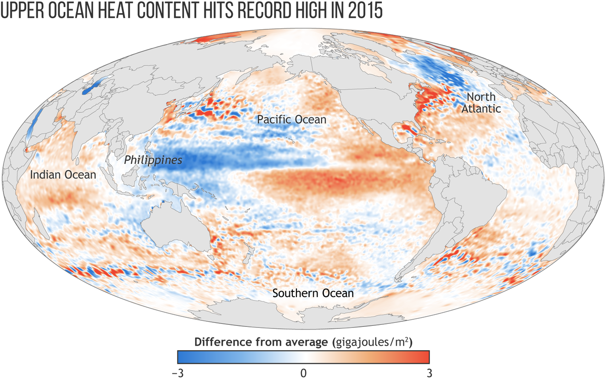 Map of Global Ocean Heat Content in 2015