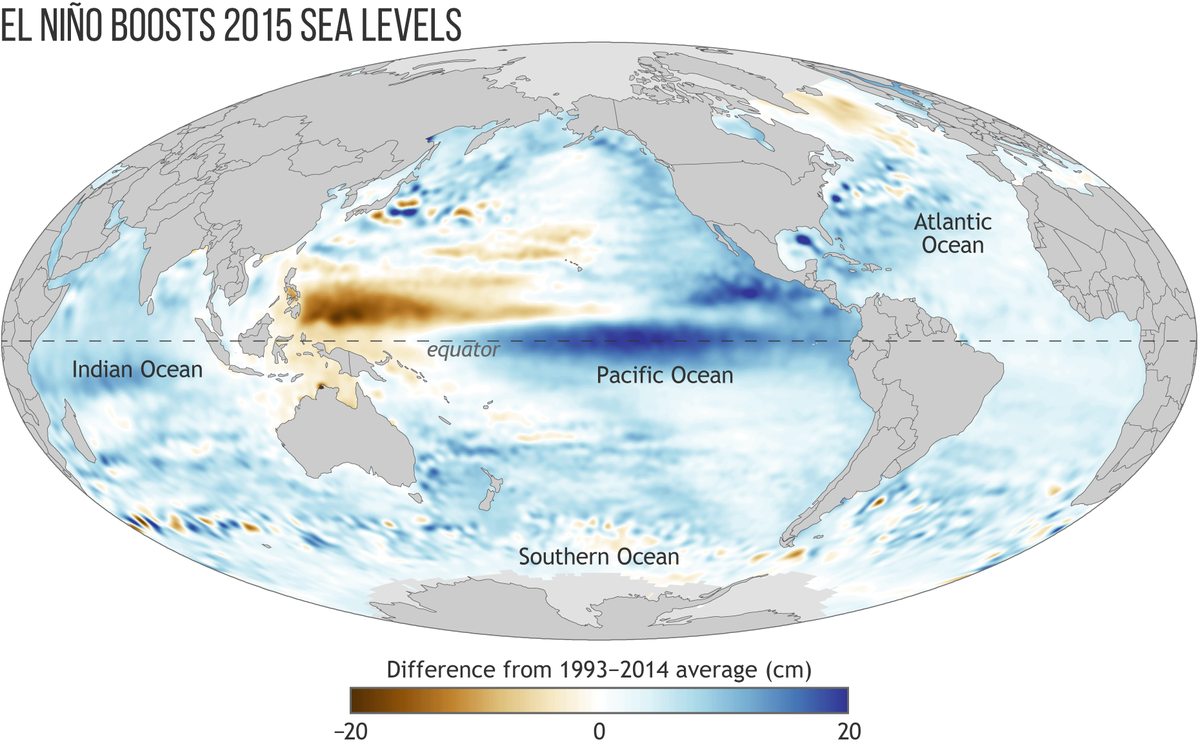 Map of Global Sea Level in 2015