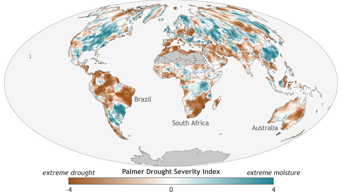 Map of global drought and moisture conditions in 2016