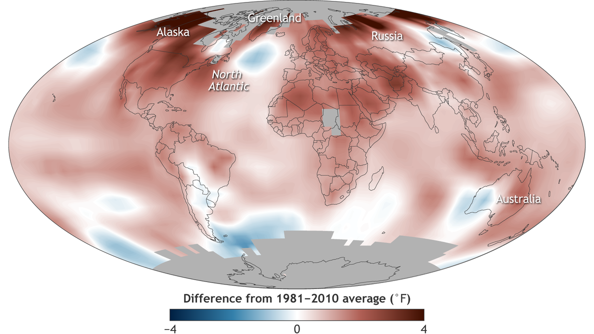 state of the climate 2016 global surface temperature map