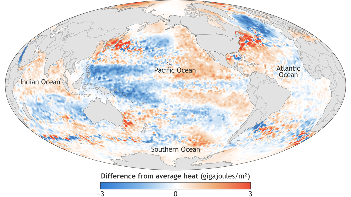 Map of global ocean heat content in 2016