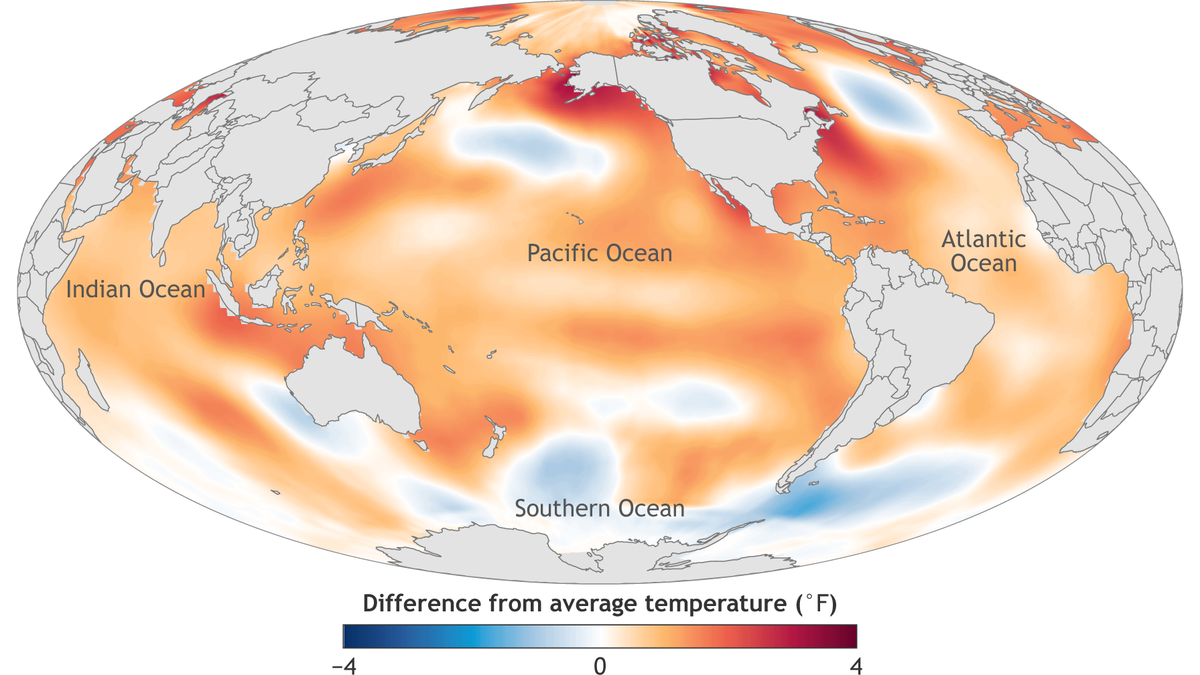 Map of global sea surface temperature anomalies in 2016
