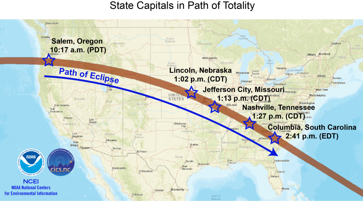 Ready Set Eclipse National Centers For Environmental - Map of us state capitals