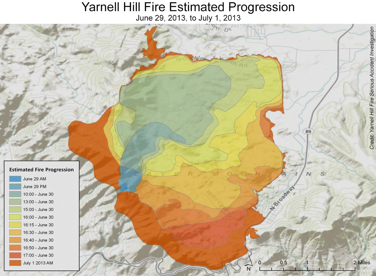 Map of Yarnell Hill Fire estimated progression from June 29 to July 1 2013