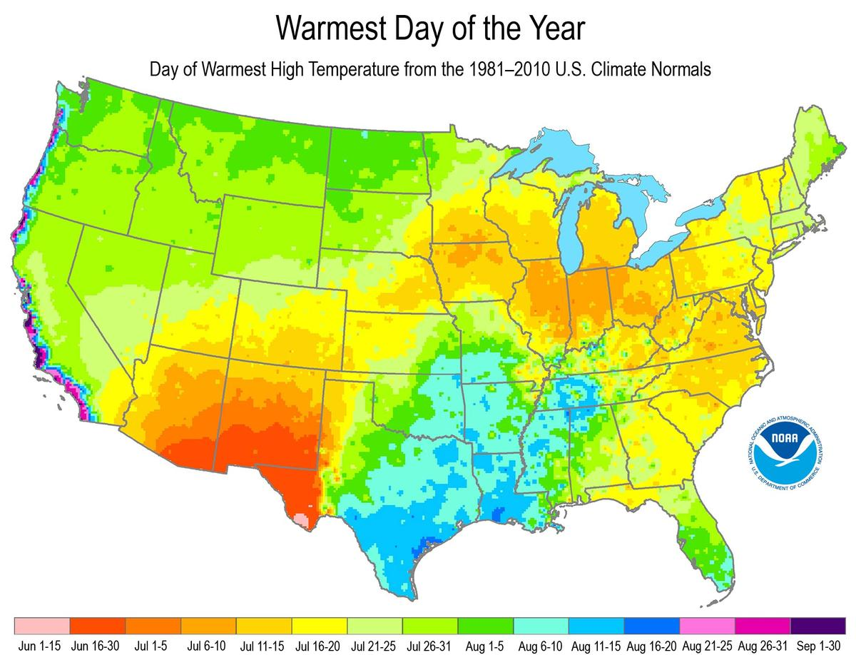 U.S. Warmest Day of the Year Map