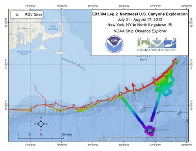 Northeast U.S. Canyons Exploration - EX 1304 Leg 2 Overview Map
