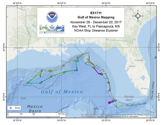 Gulf of Mexico (ROV and Mapping) - EX1711 Overview Map